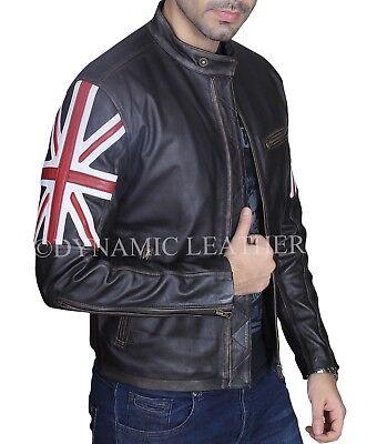 Homme Biker Vintage Moto noir cafe racer drapeau UK Union Jack Veste en cuir