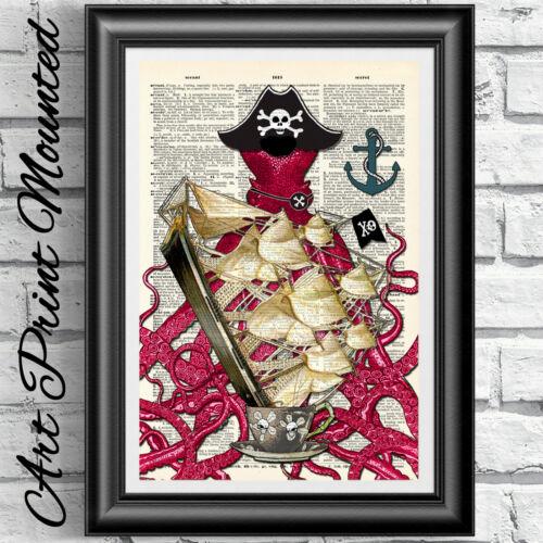 Page de livre dictionnaire imprimer monté pirate Octopus nautique artwork Décoration Murale