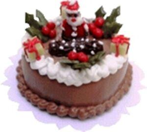 Dollhouse-Miniature-Chocolate-Santa-Christmas-Cake-1-12-Scale