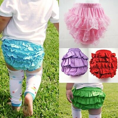 Solid Color Petti Lace Ruffled Ruffle Bloomer Baby Girl Diaper Cover Panty Skirt