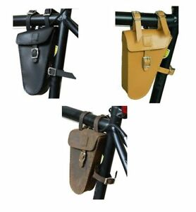 Image Is Loading Genuine Leather Bicycle Saddle Bag Bike Small Frame