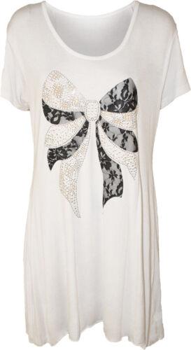 Ladies Short Sleeve Bow Lace Stud Hanky Hem Womens New Long Summer Casual Top