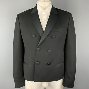 NEIL-BARRETT-Size-42-Black-Satin-Peak-Lapel-Double-Breasted-Sport-Coat