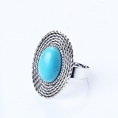 Erect elliptical shape  blue stone ancient style ring womens fashion  First