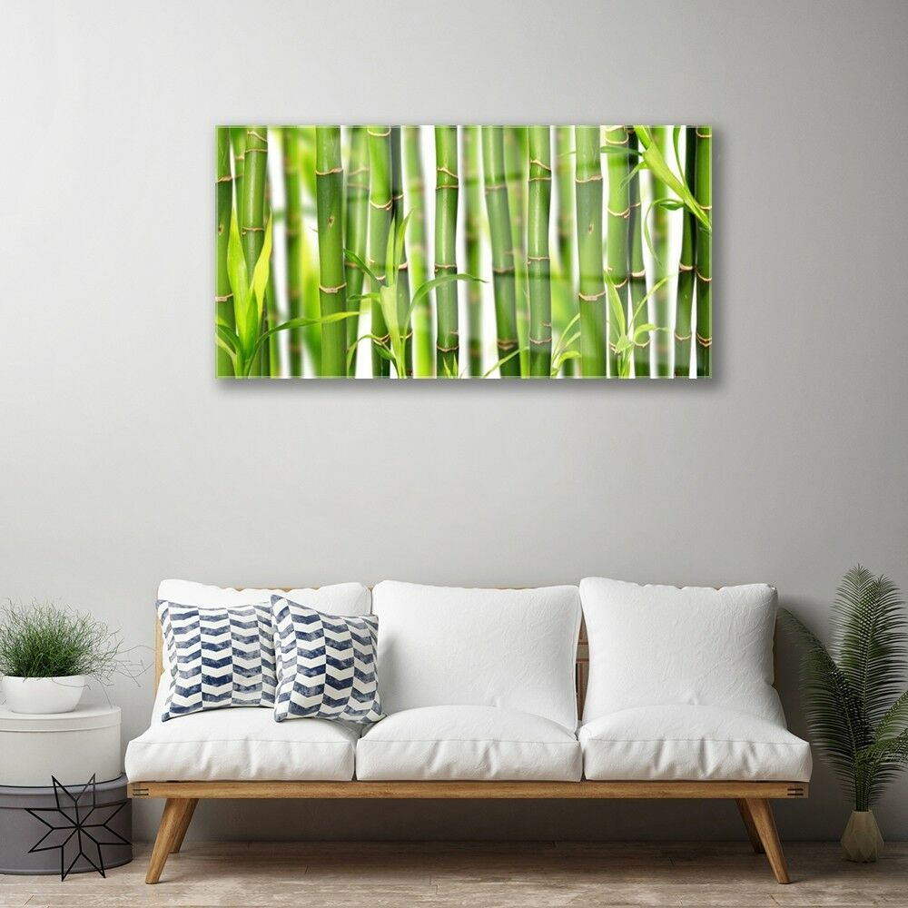 Glass print Wall art art art 100x50 Image Picture Bamboo Stalks Floral 9ef000