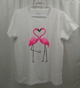 12c7a15a Image is loading Women-039-s-J-Crew-T-Shirt-Medium-Flamingos