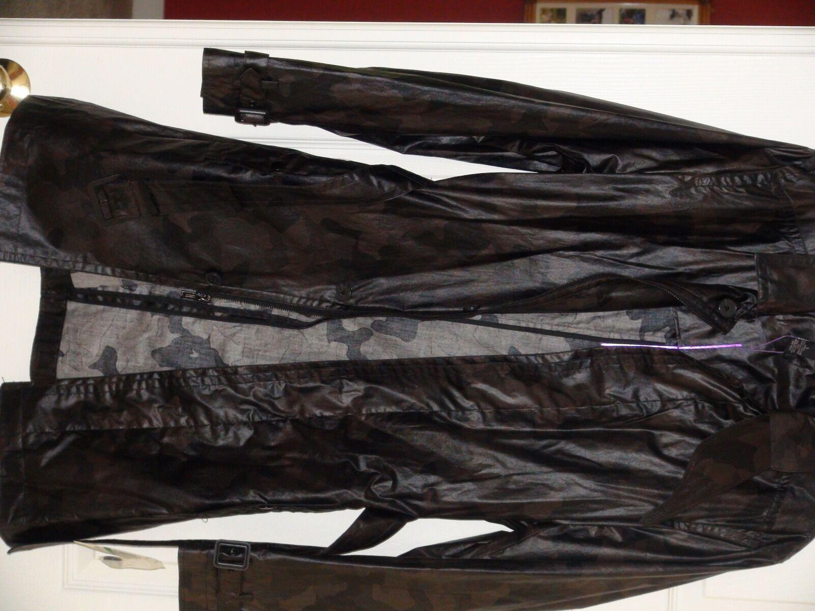 INC Men's Outerwear- Rain wear size L Dark Camo 100% Cotton Long Sleeve