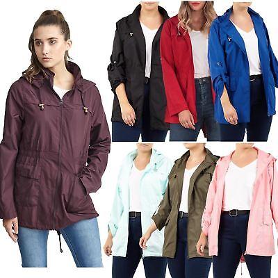 Womens Hooded Contrast Zip Lightweight Showerproof Jacket Top Mac Raincoat