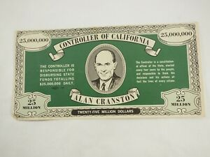Alan-Cranston-Twenty-Cinco-Million-Controlador-de-Calif-Politico-Campana-Note58