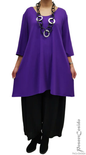 PoCo LAGENLOOK Basic Long Shirt Tunika 44 46 48 50 52 54 56  L-XL-XXL-XXXL lila