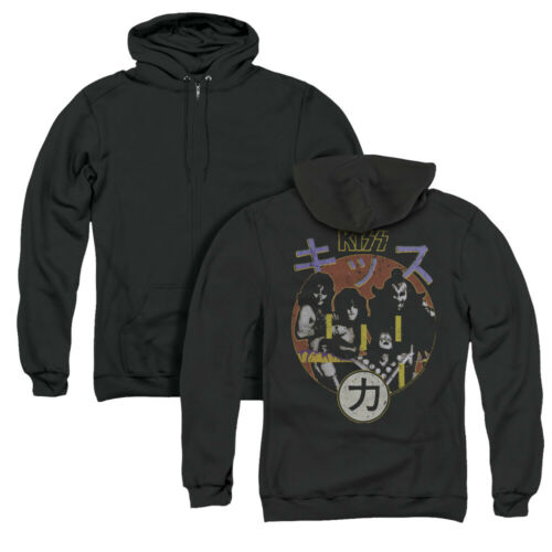 Kiss Rock Band HOTTER THAN HELL ALBUM COVER Adult Back Print Zip-up Hoodie