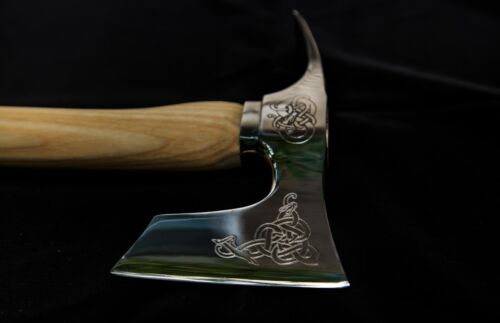 ※ Bearded axe with adze blade stainless steel engraved polished