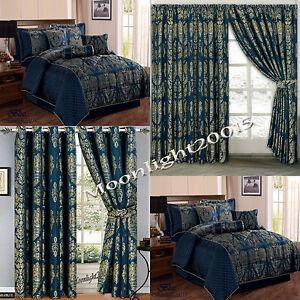 Jacquard Luxury 7 Piece Blue Comforter Set Bedspread