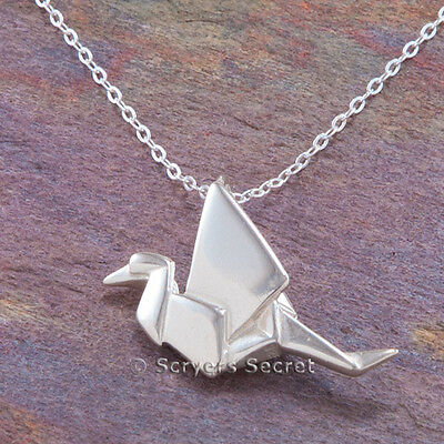 "925 sterling silver ORIGAMI paper Bird Crane Swan 3D Charm Pendant 18"" Necklace"
