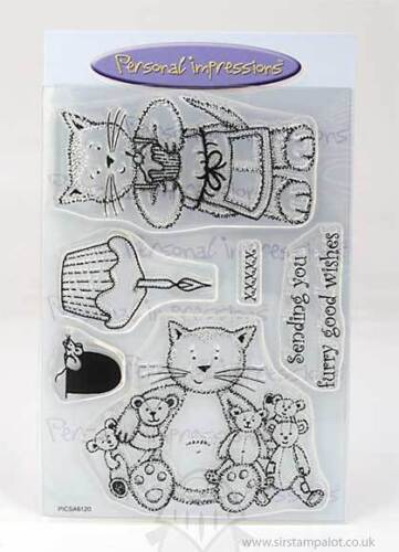 Personal Impressions ART STAMPS A6 Clear Stamps CAT FURRY WISHES PICSA6120