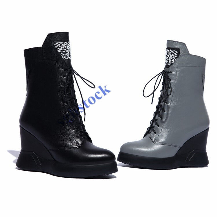 Chic Womens Ankle Boots Zipper Height Increasing Shoes Wedge Heel Lace Up Boot