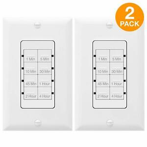 Details About Countdown Timer Switch For Lights Vents Fans Bathrooms Tgt08 2 Pack