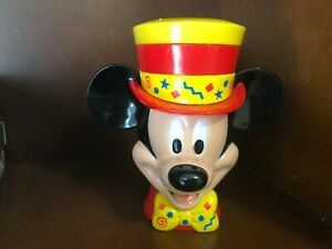 Mickey-Mouse-Mug-Drink-Cup-Top-Hat-Flip-Lid-Disney-On-Ice-6-In-High-Plastic