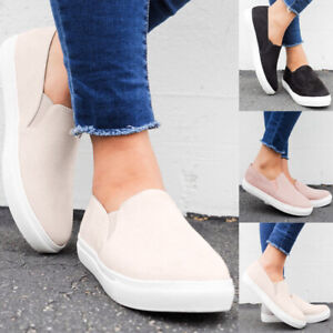 Fashion-Women-039-s-Slip-On-Loafers-Sneakers-Casual-Flat-Bottom-Round-Toe-Shoes-Size