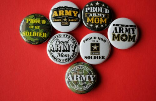 "Proud US ARMY MOM Mother 1/"" Pinback Button Badge pin Lot USA soldier Boot Camp"