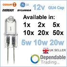 PACKS OF BRANDED 5w / 10w / 20w HALOGEN CAPSULES LIGHT BULBS LAMPS 12v G4 GU4