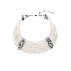 Collier Ras de Cou Mini Perle Retro Style Moderne Original Soirée Mariage  JD 3