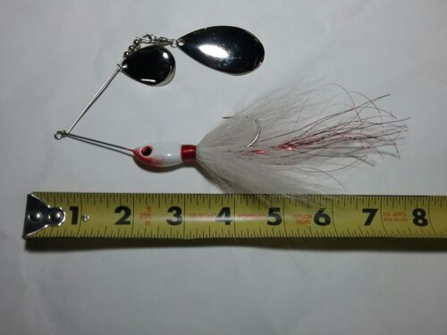 Details about  / SPINNER BAIT 1 1//4 oz MUSKY BASS BUCKTAIL WHITE RED MUSTAD HOOK  INDIANA BLADE