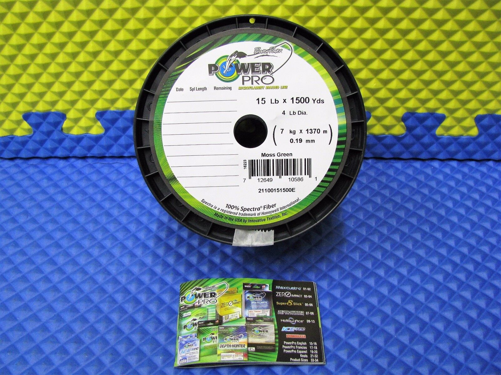 Power Pro Microfilament Braided Fishing Line 15 lb. 1500 yds. Moss Green 16223