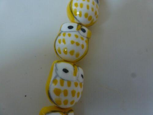 Blue Owl Ceramic Beads  15mm Asst Colours. Orange 2 per purchase Yellow