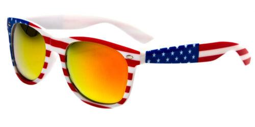 White Classic American Patriot Flag Sunglasses USA Blue Orange Mirror