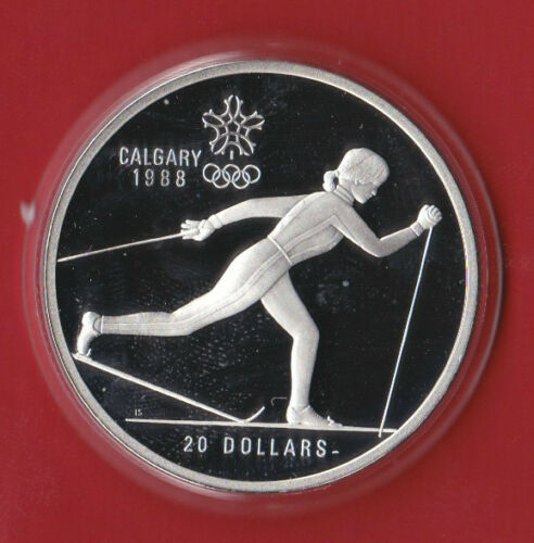 - Country Skiing 1988 1oz ASW $20 Calgary Olympic Sterling Silver Coin 1986