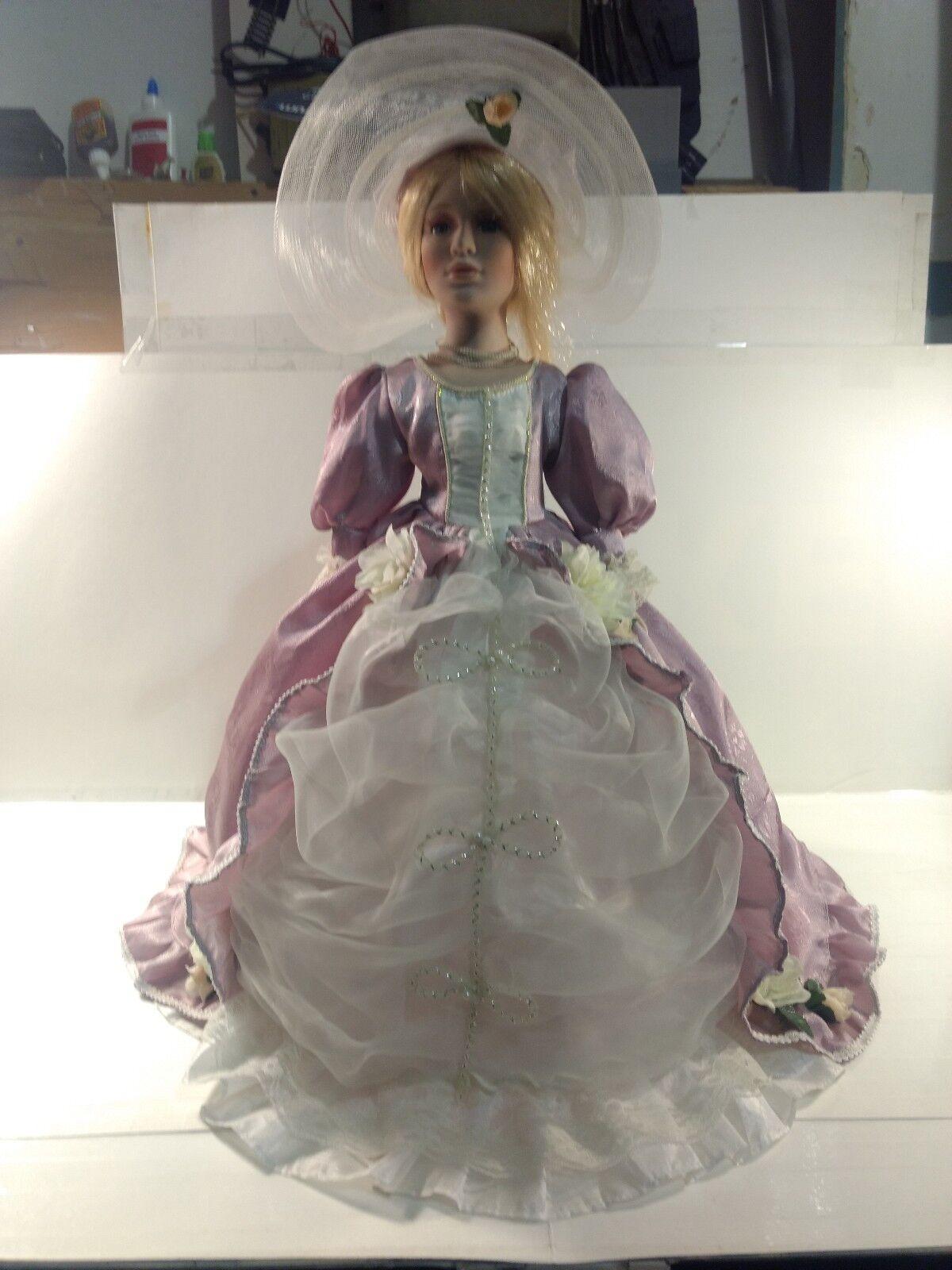 Vintage Stile Vittoriano Porcellana Ombrello  53.3cm Bambola in Vestito Viola  marche online vendita a basso costo