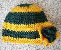 Handmade Crochet Adorable Green & Gold Baby Sports Fan Hat W/flower- 6 Month