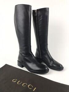 8d861d10e9d Details about GUCCI $1,095 Black Maud Leather Knee High Riding Boots 353761  Size 37.5 US 7.5