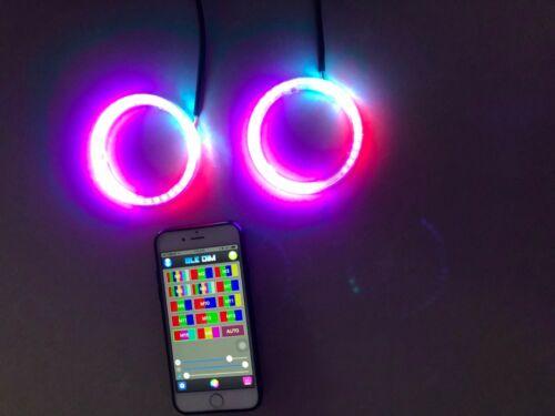 Pair of【60MM】 IP68 Color Chasing Flow Bluetooth Ctrl Full Rings Head Light Halos