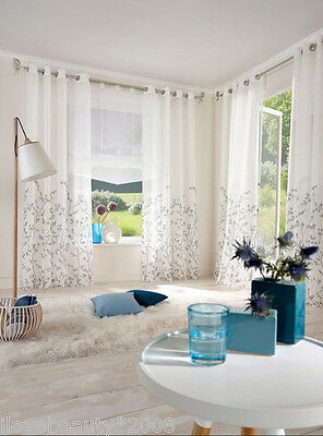 Solid Sheer Curtain Window Curtains Metal Eyelet Voile Panel White H245cmxW140cm