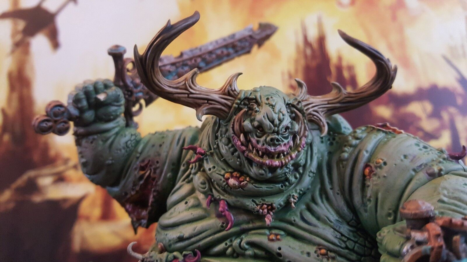 Warhammer 40k AoS pro  painted  Great unclean one daemon of nurgle made to order  articles promotionnels