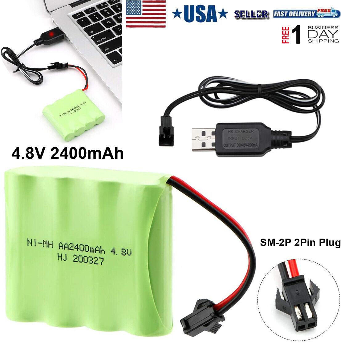 Charging Cable USB Battery Charger Ni-Cd Ni-MH Batteries Pack SM-2P Plug Adap W4