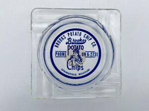 Vintage-Brooks-Potato-Chip-Co-Springfield-Missouri-Glass-Advertising-Ashtray