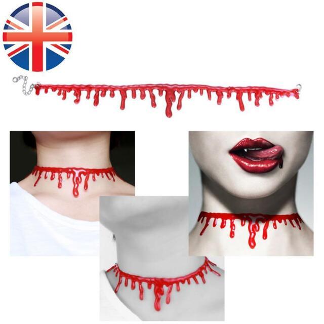 9aa5ba8b41d54 *uk Seller* Halloween Blood Dripping Necklace Jewelry Choker Drip Plastic  Slit