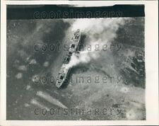 1943 WWII Aerial US Army Air Corp Bomb Practice on Old Ship Press Photo