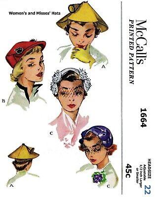 "DuBarry #5016 HATS Turban Beret Fabric Sewing Pattern Chemo Alopecia 22/"" 1940/'s"