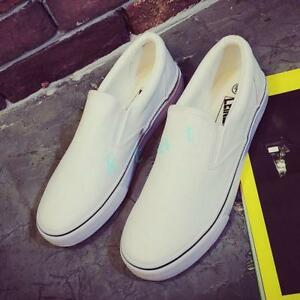Classic-Men-039-s-Slip-On-Flat-Sneakers-Walking-Shoes-Black-White-Canvas-Shoes-New