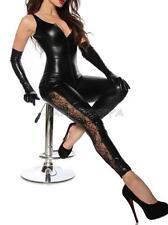 Sexy Women Leotard Bodysuit Black Leather Wet Look Cat Suit Jumpsuit Clubwear