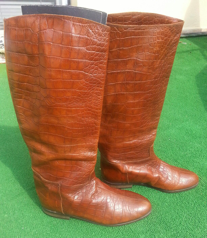 Luxury BALLY Riding Sz Knee High Leder Stiefel Sz Riding EU 40 Cognac Braun Croc EUC d90824