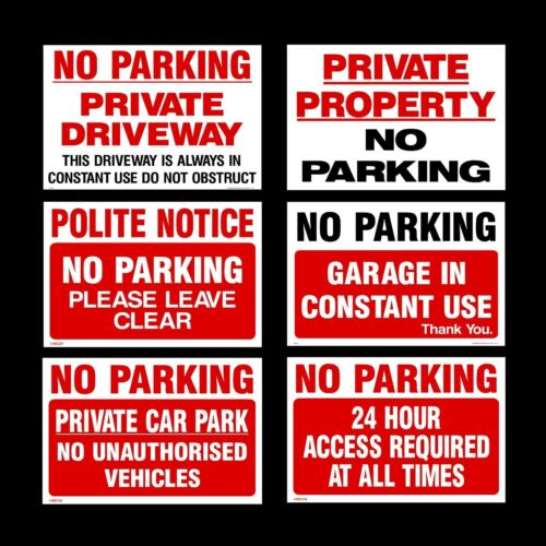 No Parking 3 Sizes 3mm Metal Sign Private Property