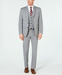 550-Van-Heusen-Men-039-s-36R-Gray-Striped-Slim-Fit-3-Piece-Suit-Jacket-Vest-Pants