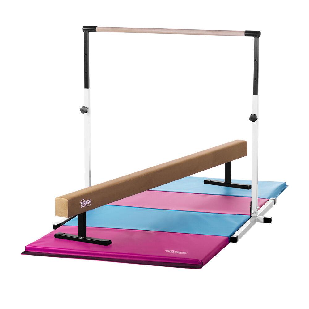 NEW White Horizontal Bar, Tan Suede Balance Beam and  Pink Light blueee Mat Combo  free shipping!