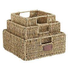 VonHaus Set of 3 Square Seagrass Storage Organizer Baskets with Insert Handles
