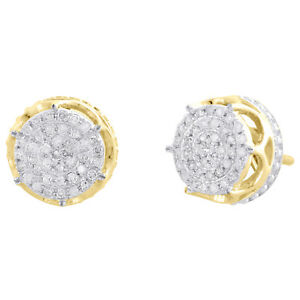 10K-Yellow-Gold-Real-Diamond-6-Prong-Sutds-9-50mm-Mens-3D-Pave-Earrings-1-4-CT